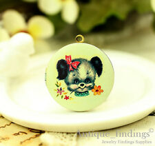 1PCS Vintage Baby Dog Locket Pendant , Handmade photo Locket Necklace HLK136F