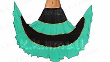 Belly Dance Costume 16 Yard 4 Tired Long Skirt With Trim Rock Jupe Costume S~3XL