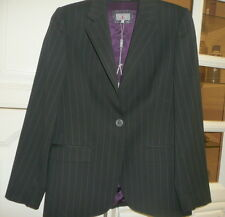 PER UNA Skirt Suit Black Pinstripe Fully Lined Jacket Size 12 & Skirt Size 14