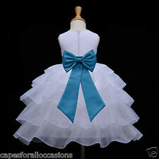WHITE TIERED ORGANZA FLOWER GIRL DRESS PAGEANT WEDDING BRIDESMAID 2 4 5T 6 8 10