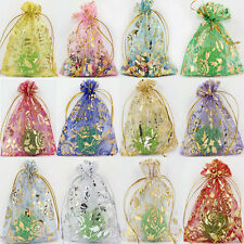 50/100Pcs Rose&Gold Organza Wedding Favor Party Gift Bag Candy Bag Pouches 9x7CM