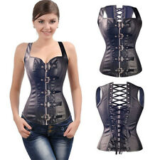Sexy Faux Leather Waistcoat Corset Black Steel Vest Steampunk Bustier Lace up TB