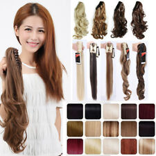 One Piece Blonde Long Straight Ponytail Hairpiece Hair Extensions Claw Clip in