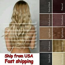 8Pcs Long Curly Wavy Straight Full head clip in on hair extensions Hot Color H78