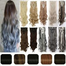 HOT As HumanThick Hair Clip In Hair Extensions Full Head Black Blonde Brown H817