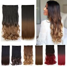 100% New Ombre Hair 3/4 Full Head Clip in on Hair Extension Natural as Human G2