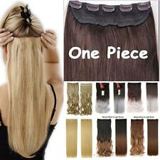 Deluxe thick 3/4 Full Head Clip In Hair Extensions Straight Wavy Extension H714