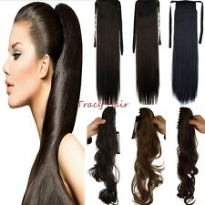 US 100% Real Clip In Hair Extension Curly Straight Brown Claw Ponytail Hair H824