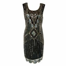 1920s Art Deco Great Gatsby Vintage Beaded Cocktail Party Flapper Dress Gown3