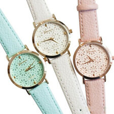 Geneva Faux Leather Band Elegant Flower Casual Analog Quartz Wrist Watch Band