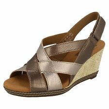 LADIES CLARKS HELIO CORAL SLINGBACK OPEN TOE CROSSOVER STRAPS WEDGE SANDALS