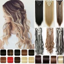 Clip In Hair Extension Blonde Long  Straigt As Human Hair Piece US Post  H823
