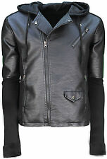 Mens Soulstar Biker Style Jacket Hooded PU Leather Effect Casual Designer New