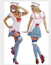 Navy Sailor Girl Uniform Ladies Costume Halloween Party Pin up Fancy Dress+Hat