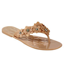 DOLLY MIX DC69 Women Flower Accents Rhinestone Jelly Flip Flop Thong Flat Sandal