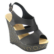 I HEART COLLECTION ALESSA-02 Women's Peep Toe Platform Sling Back Wedge Sandals