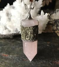Rose Quartz Crystal Point With Crushed Pyrite Pendant - Wire Wrapped Pendant