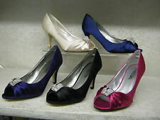 Spot On! F10059 Satin High Heel Peep Toe Evening Court Shoes