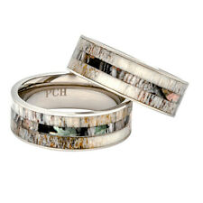 Deer Antler Ring with Camo Inlay 8mm Titanium Mens Wedding Band Comfort Fit Mens
