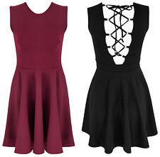 Womens Ladies Skater Flared Swing Dress Mini Sleeveless Open Lace Up Back Party