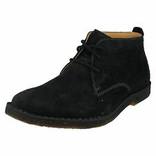 MENS HUSH PUPPIES BLACK SUEDE LEATHER WIDE FIT LACE UP BOOTS DESERT II