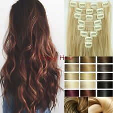 Hot Natrual Thick Full Head 8pcs Clip In Hair Extension Clips As Human Hair H97