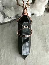 Black Obsidian Crystal Point Pendant - Copper Wire Wrapped Necklace