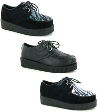 SALE LADIES SPOT ON SUEDE CASUAL LACE UP PLATFORM WEDGE CREEPERS F9588