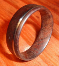 Wooden Band Ring,Manzanita Wood Ring,Handcrafted Ring With Guitar String Inlay