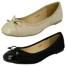 Ladies Spot On Flat Ballerina Style Shoes / Upper Bow Detail / Slip On