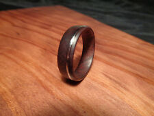 Wood Inlay Ring,Manzanita Wood Ring,Handcrafted Wood Ring,Guitar String Inlay