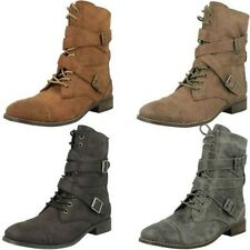 Ladies Coco Military Style Lace Up Flat Boots