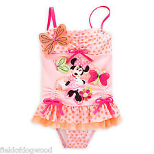 NWT Disney Store Minnie Mouse Clubhouse Ruffled 2pc Swimsuit Girls 3 4 5/6 7/8