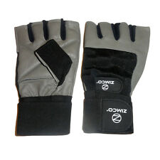 Zimco Weight Lifting Gloves Fitness Mitts Genuine Leather Gloves Gray
