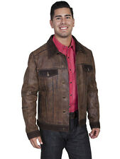 Men's New Scully Soft Vintage Calf Jean Jacket Two Tone Brown