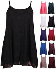 Womens Plus Size Floral Lace Sleeveless Swing Camisole Strapy Ladies Top Vest