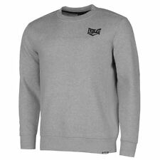 MENS GREY EVERLAST BOXING GYM CLUB LONG SLEEVE CREW NECK SWEATSHIRT JUMPER TOP
