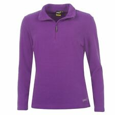 WOMENS LADIES PURPLE GELERT WALKING 1/4 ZIP FUNNEL NECK FLEECE JUMPER SWEATER