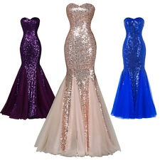 Formal Sequins Mermaid Wedding Gowns Long Bridesmaid Prom Party Evening Dress
