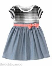 NWT Gymboree Animal Party Striped & Chambray Dress Toddler Girl 12-18-24 M,5T