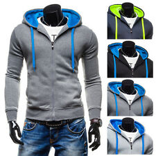 Mens Hooded Fleece Sweatshirt Hoodie Tracksuit Jacket Casual Sports Wear Coat