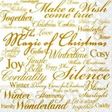 4 x Single Paper Table Napkin/Decoupage/Decopatch/Christmas Words/Gold