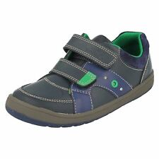 BOYS CLARKS MALTBY POP INF RIPTAPE STRAP FLASHING LIGHTS CASUAL LEATHER SHOES
