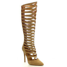 Beston FA41 Women's Cut-Out Strappy Back Zip Stiletto Knee High Sandal Boots