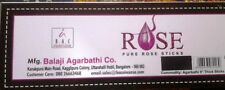 BALAJI ROSE PURE ROSE OIL INCENSE STICKS: PACK OF 3 x 10 AND PACK OF 1  X 25 STI
