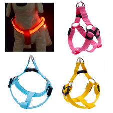 LED Flashing Light Dog Belt Harness Safety Pet Puppy Harness Collar Lead Leash