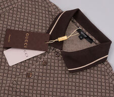 Gucci Polo Shirt, Mens Short Sleeve Polo T-Shirt - Diamante, Brown - All Sizes
