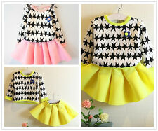 2pcs Toddler Infant Kids Baby Girls Outfits Tops +Short skirts Clothes sets