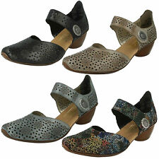 LADIES RIEKER LEATHER RIPTAPE STRAP FLORAL BLOCK HEEL MARY JANE SHOES 43711