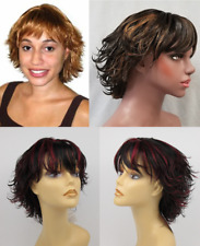 WOMAN LADY SHORT WISPS FLIP UP STRAIGHT HAIR TAPERED BACK WIG CRYSTAL PIXIE